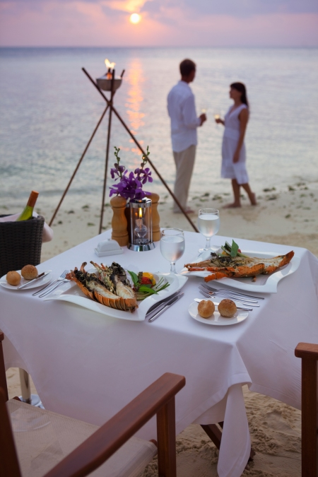 Romantic Beach Dinner Baros dinner